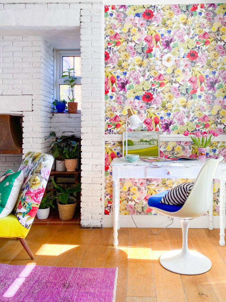 floral wallpaper in living room